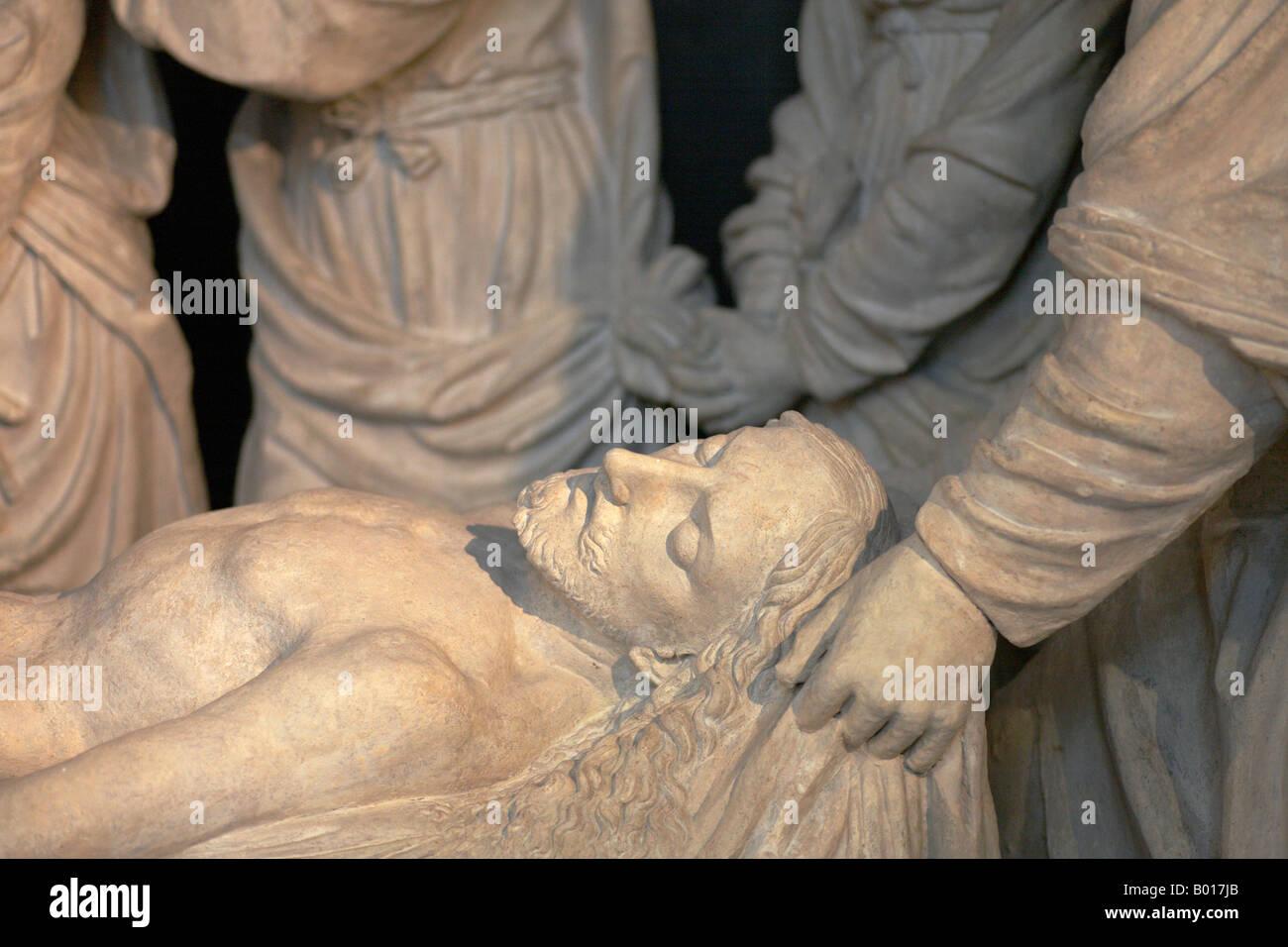 Mise au tombeau du Christ sculpture in St Etienne du Mont church Latin Quarter Paris France Stock Photo