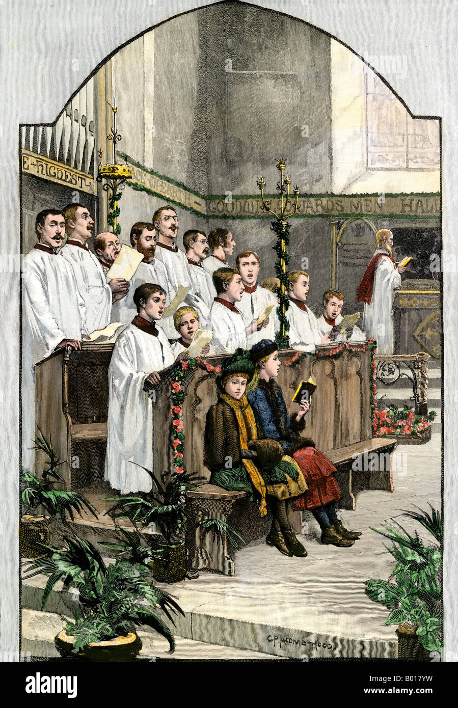 Choir singing a Christmas hymn in an Anglican church 1880s Stock ...