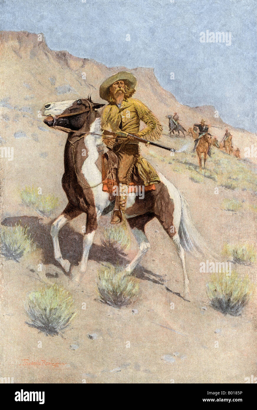 The scout a frontiersman employed by US Army in the opening of the west. Color halftone of a Frederic Remington - Stock Image