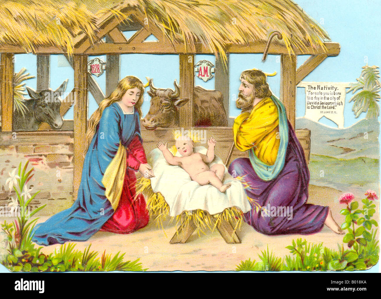 Chromolithographed diecut scrap of The Nativity circa 1885 - Stock Image