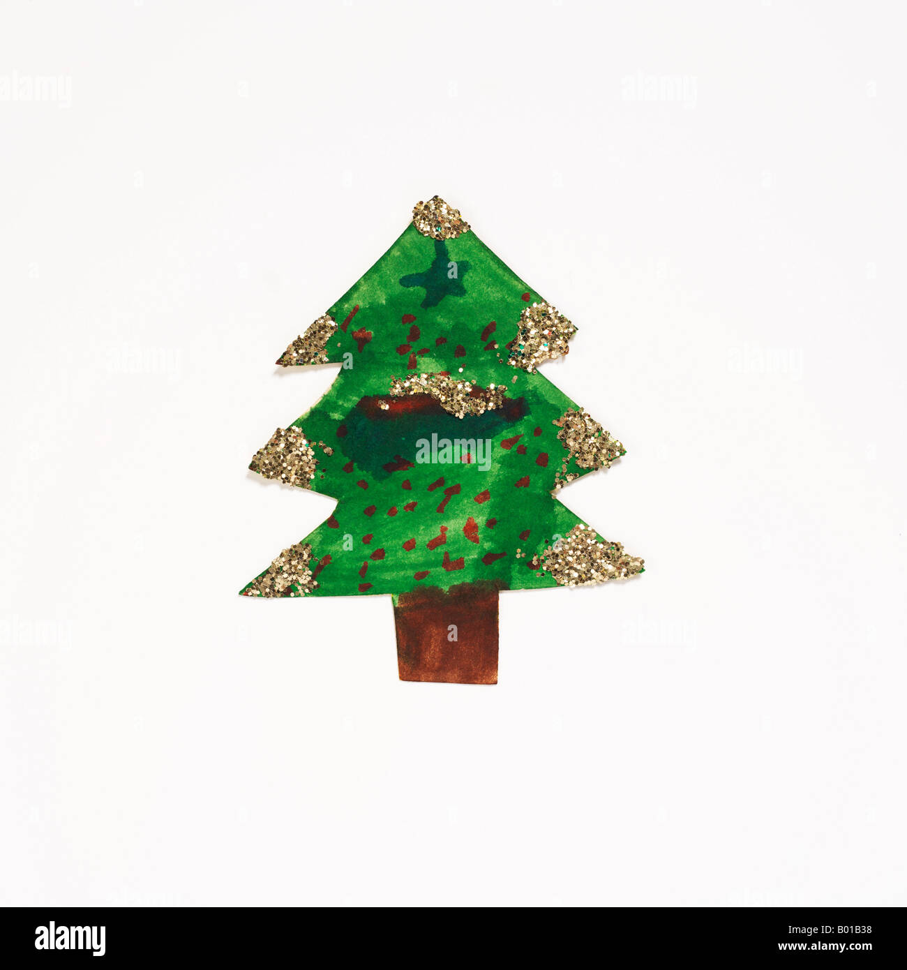 christmas tree with gold glitter - Stock Image