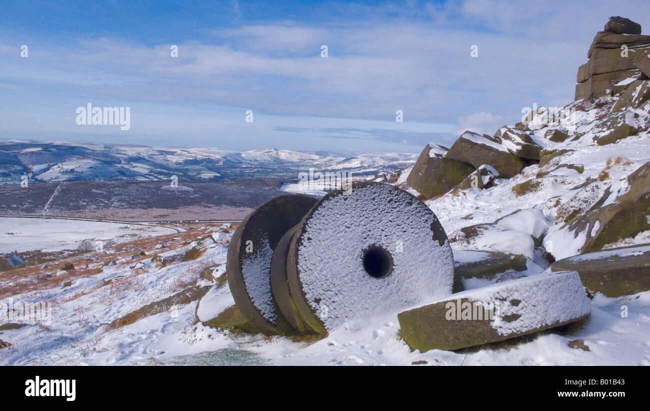 Snow covering the wheelstones on Stanage Edge Derbyshire Peak District national park England GB UK EU Europe Stock Photo