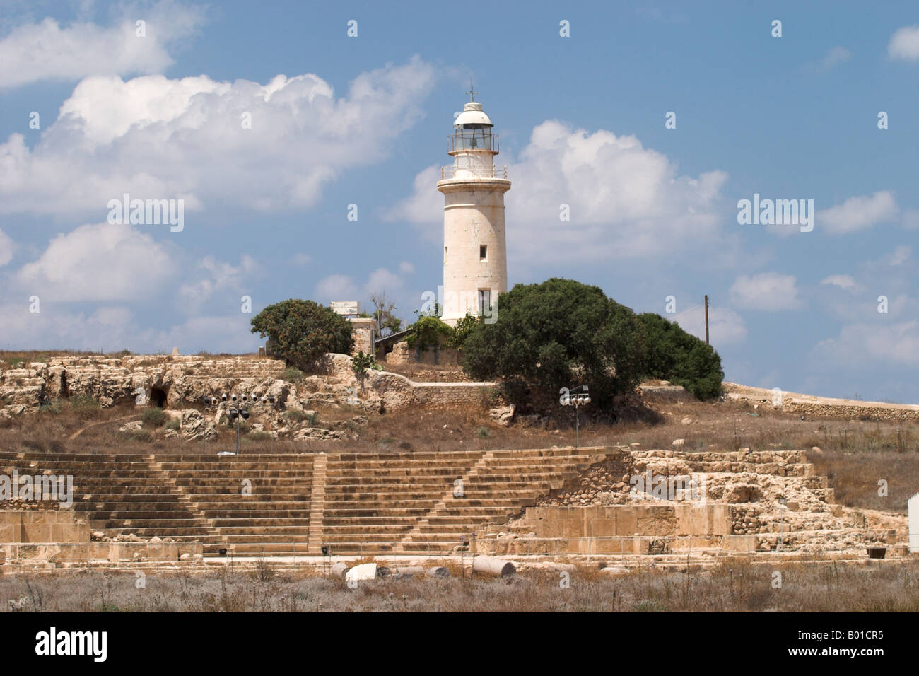 Paphos Archaeological Park Lighthouse and Ancient Odeon, Kato Paphos, Cyprus Stock Photo