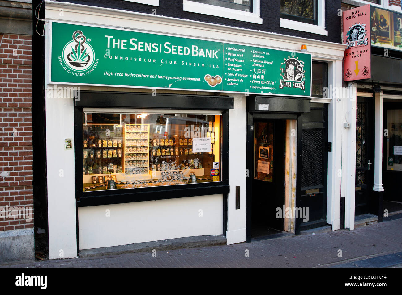 front of the sensi seed bank shop a cannabis drug store