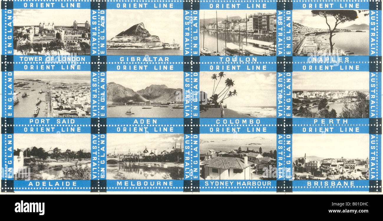 Set of poster stamps for Orient Line publicity circa 1933 - Stock Image