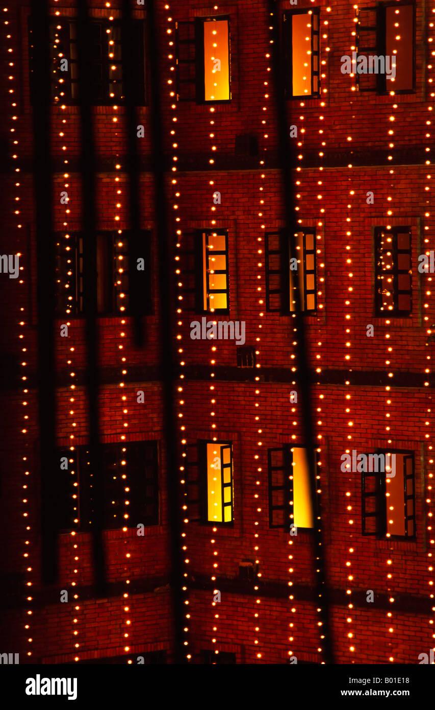 lights strung to celebrate Diwali, Katmandu, Nepal - Stock Image