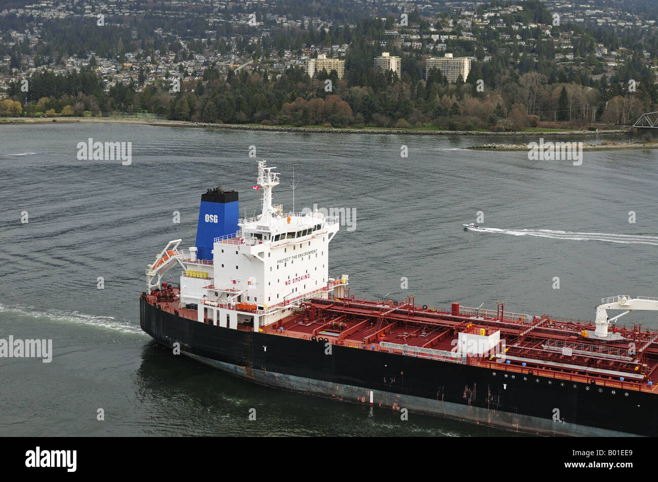 'Overseas Long Beach' Petroleum Chemical Tanker entering the Burrard Bay Inlet North Vancouver City B.C. - Stock Image