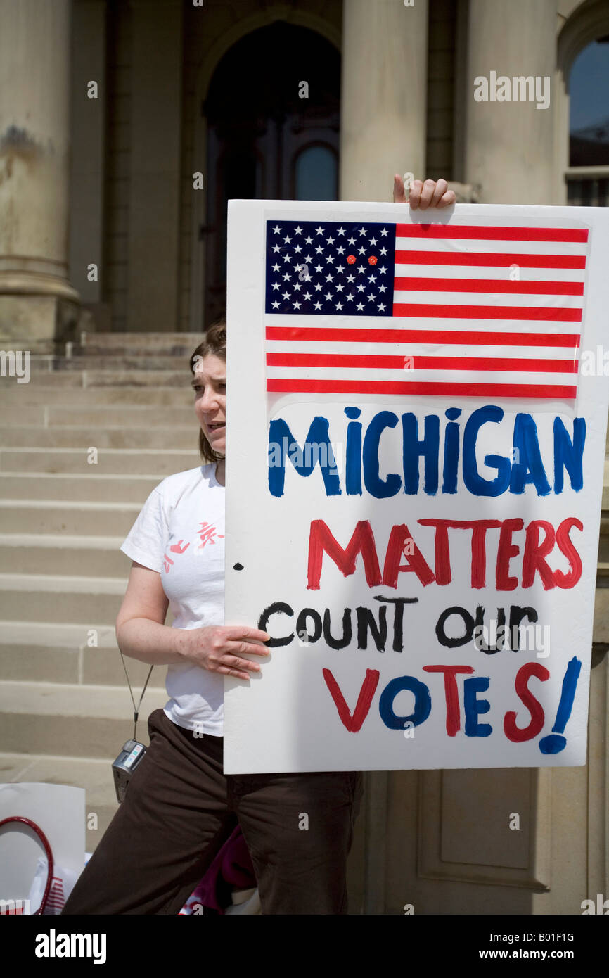 Women Demand That Michigan Votes Be Counted in Democratic Primary Election - Stock Image