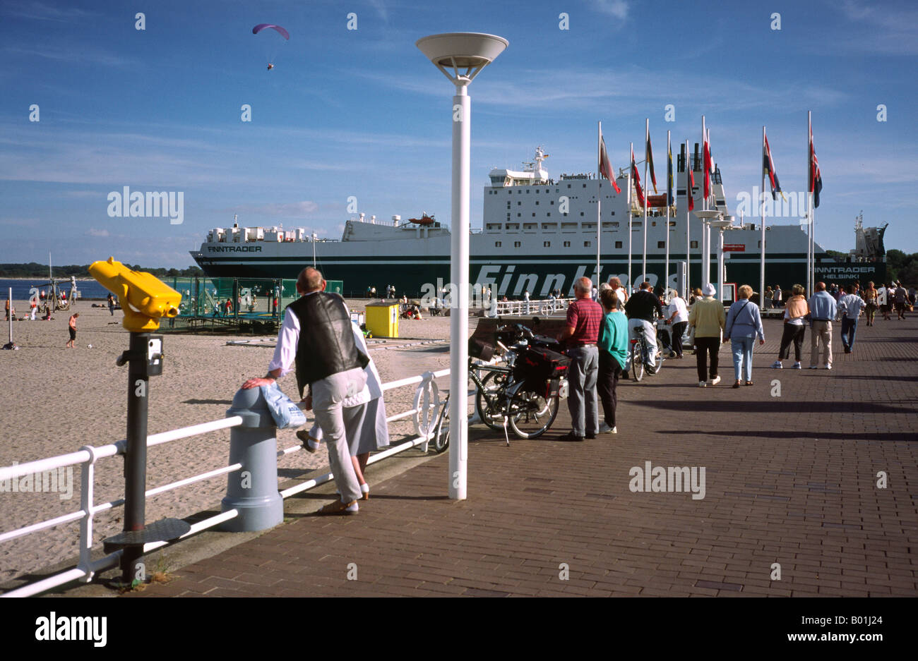 Sept 14, 2003 - Grimaldi owned ferry Finntrader leaves the German port of Travemünde headed for Malmö - Stock Image
