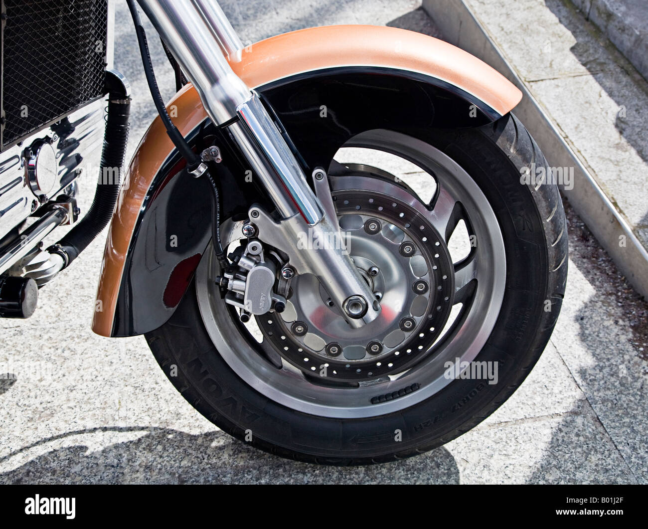 Honda Goldwing front wheel Detail - Stock Image