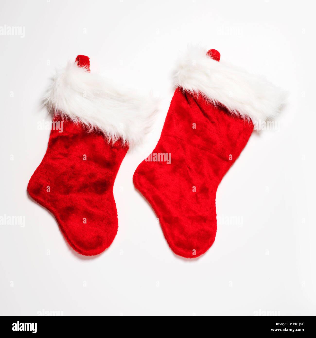 red Christmas stockings - Stock Image