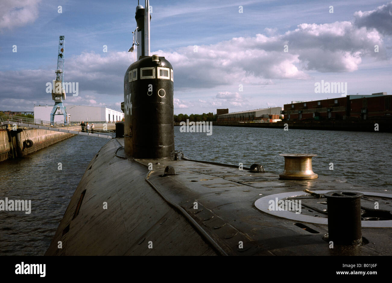 Sept 27, 2003 - Non-nuclear Russian submarine U-434 (Tango class) on public display at the German port of Hamburg. - Stock Image