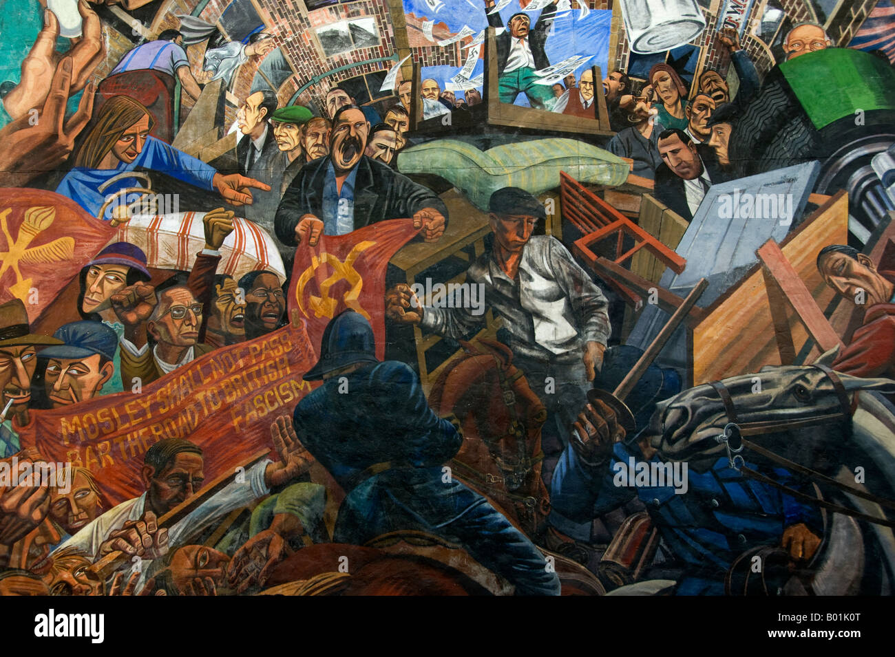 Detail of the Cable Street Mural, depicting the Battle of Cable Street, 4 October 1936.  Mural by Simon Niziol - Stock Image