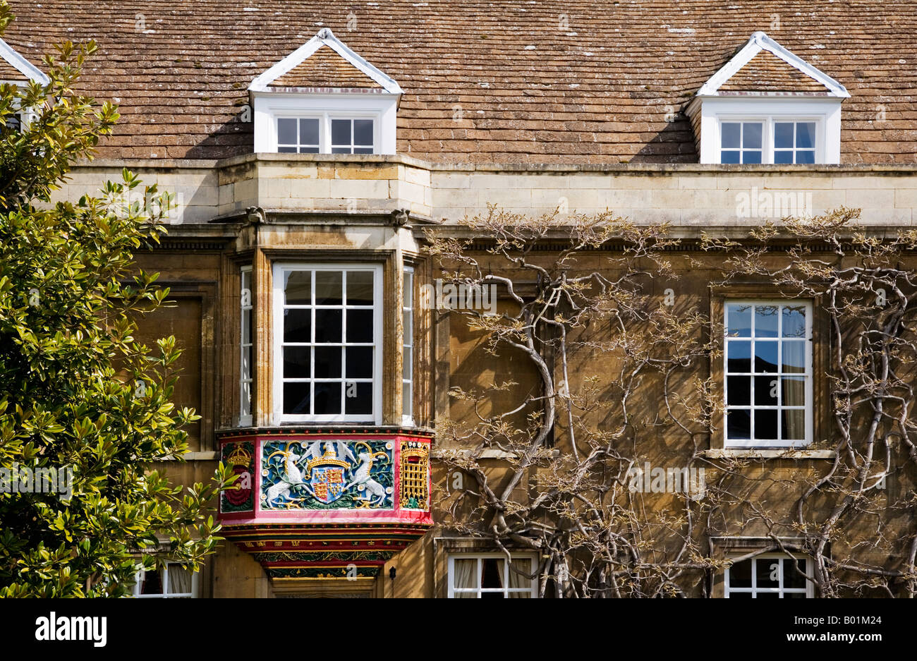 Coat of Arms above the entrance to the Master's Lodge in First Court, Christ's College, Cambridge - Stock Image