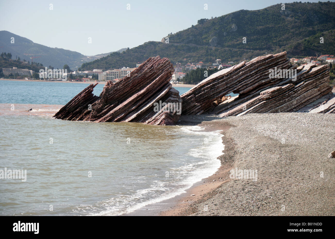 curious rock formations on the beach Budva Riviera Montenegro - Stock Image
