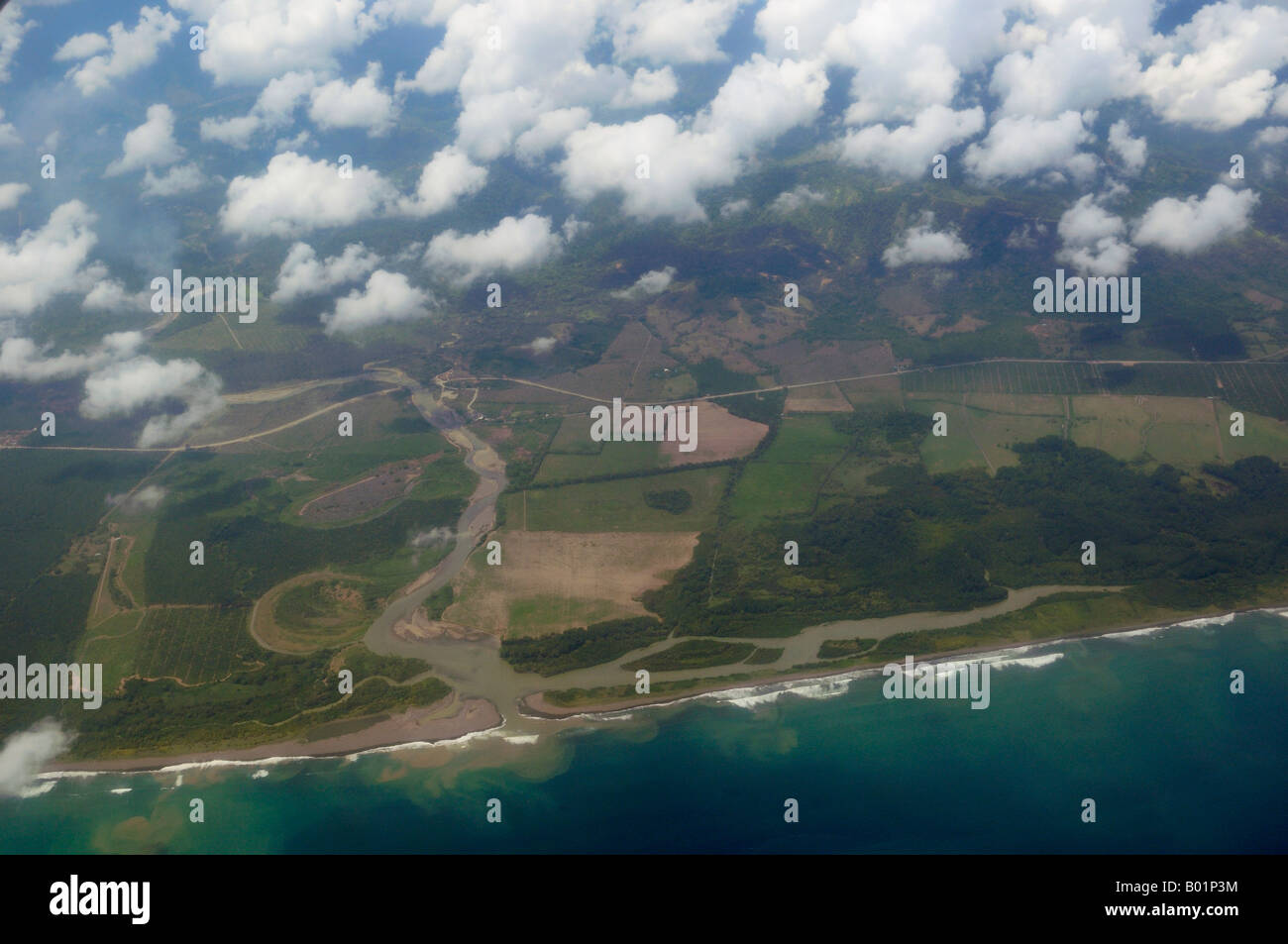 Aerial view of mouth of the Rio Savegre river emptying into the Pacific Ocean Costa Rica - Stock Image