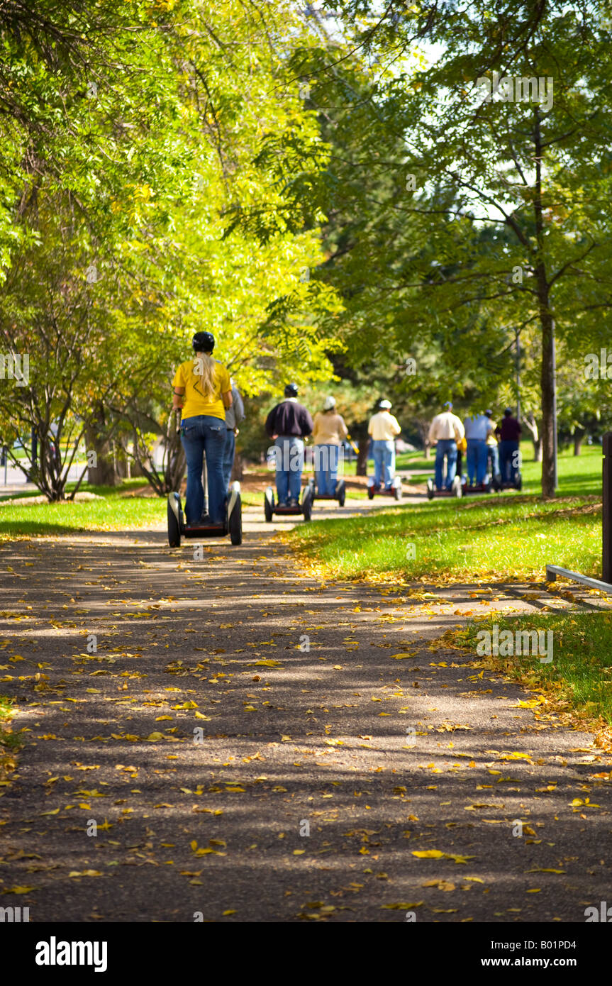 Segway tour along the St Anthony Falls Heritage Trail in Minneapolis MN - Stock Image