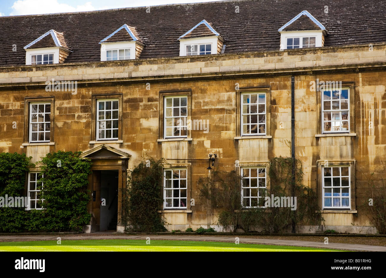 Part of First Court at Christ's College, Cambridge University, Cambridge, England, UK - Stock Image
