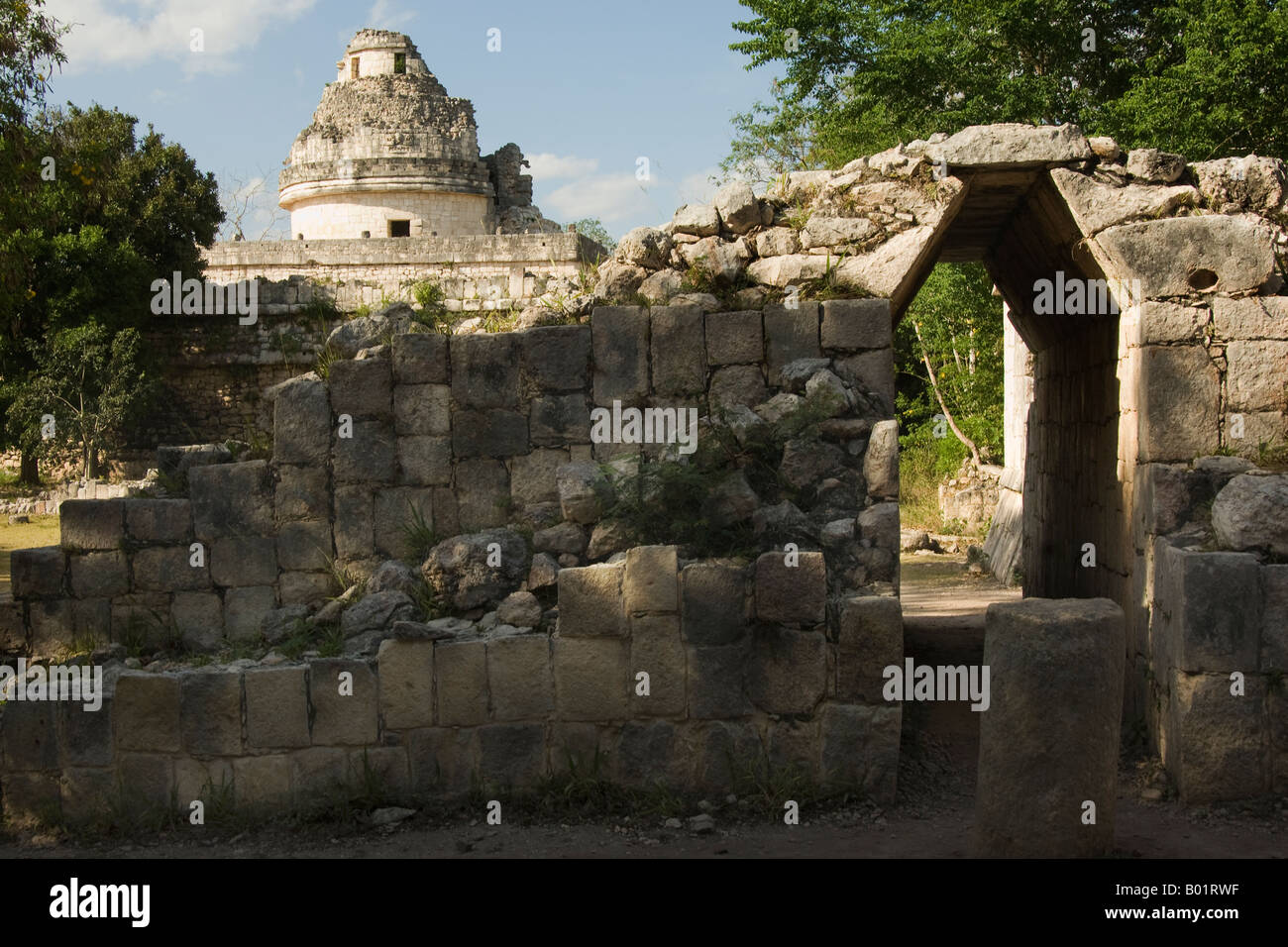 Chichen Itza, The Observatory, Maya Ruins - Stock Image