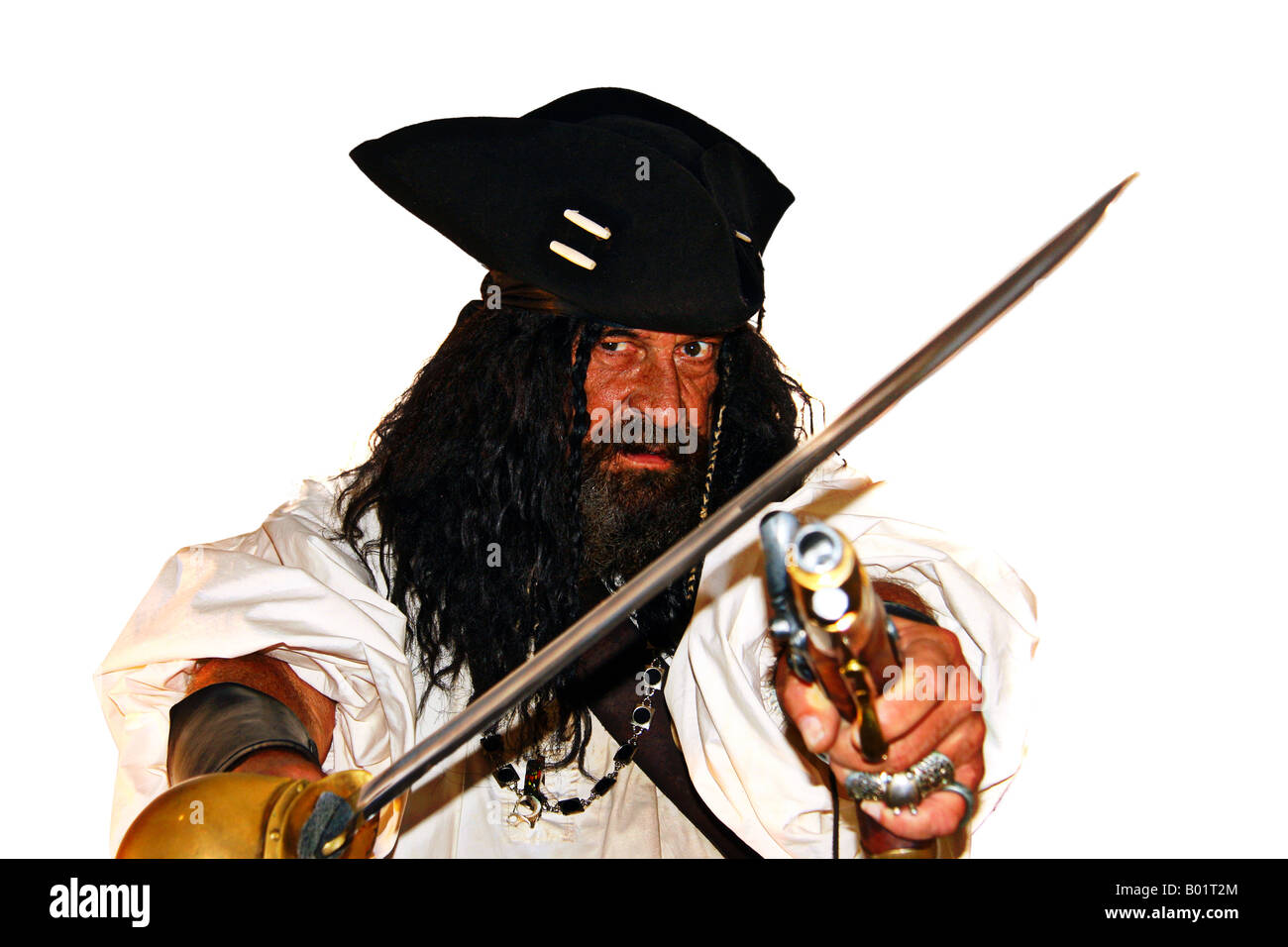 Portrait of a vicious medieval pirate (isolated on white) - Stock Image