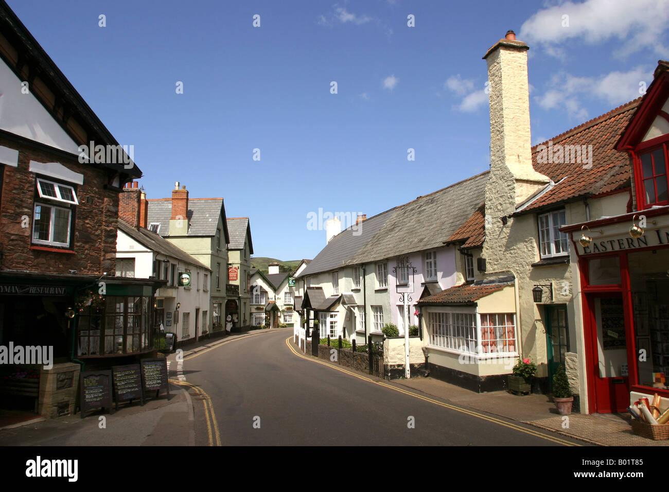 UK Exmoor Somerset Porlock High Street - Stock Image