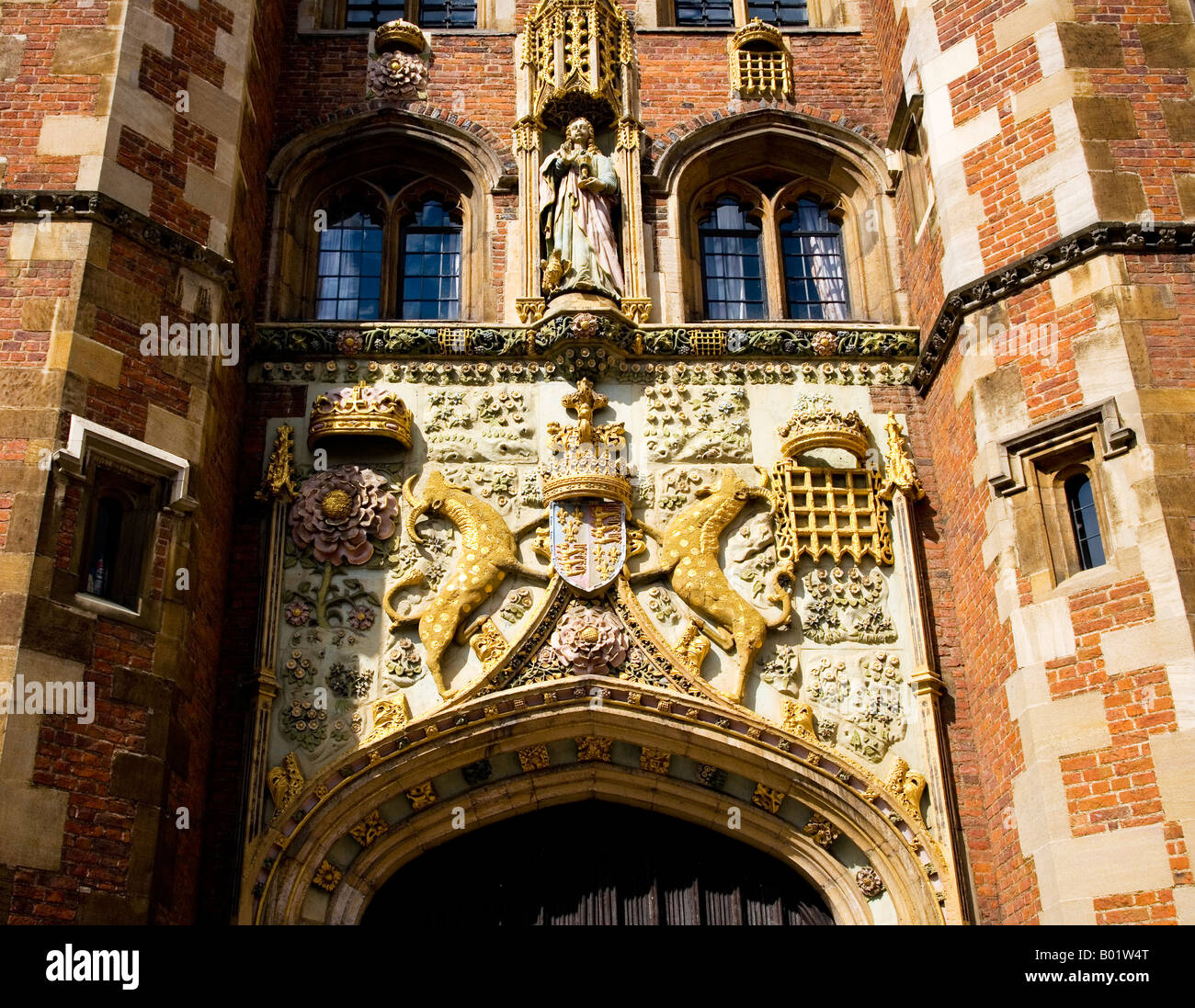 The Front Gate, St.John's College, Cambridge. The carving is of the coat of arms of the Foundress, Lady Margaret - Stock Image