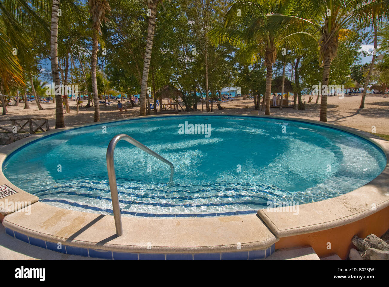 Dominican republic bayahibe small round swimming pool palm trees stock photo 17257153 alamy - Palm beach pool ...
