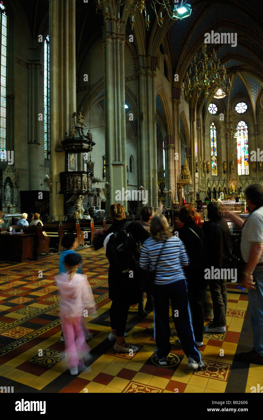 Group Of Tourists Inside Cathedral The Assumption Blessed Virgin Mary Zagreb Croatia