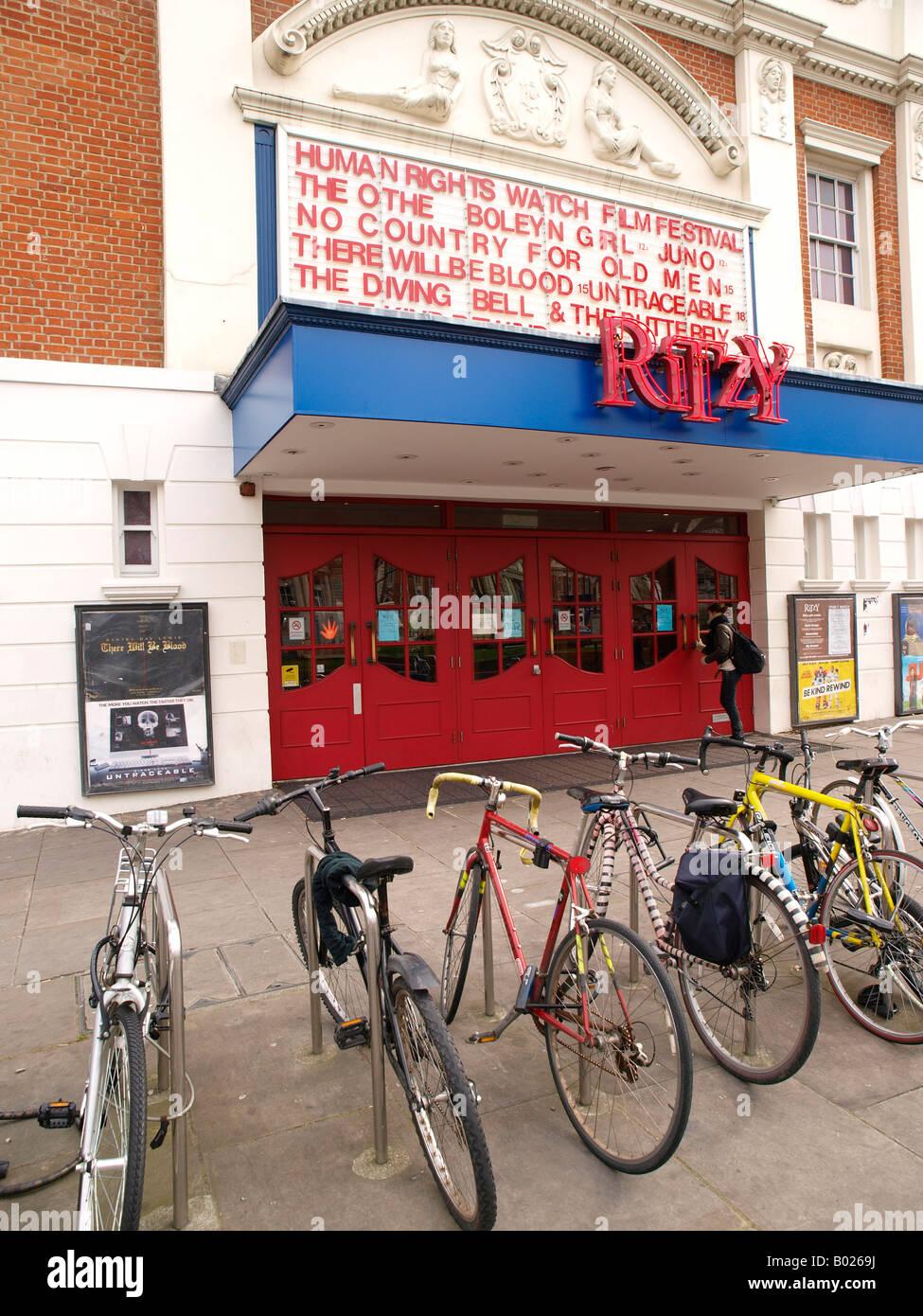 Bicycles at Ritzy Cinema Brixton London - Stock Image