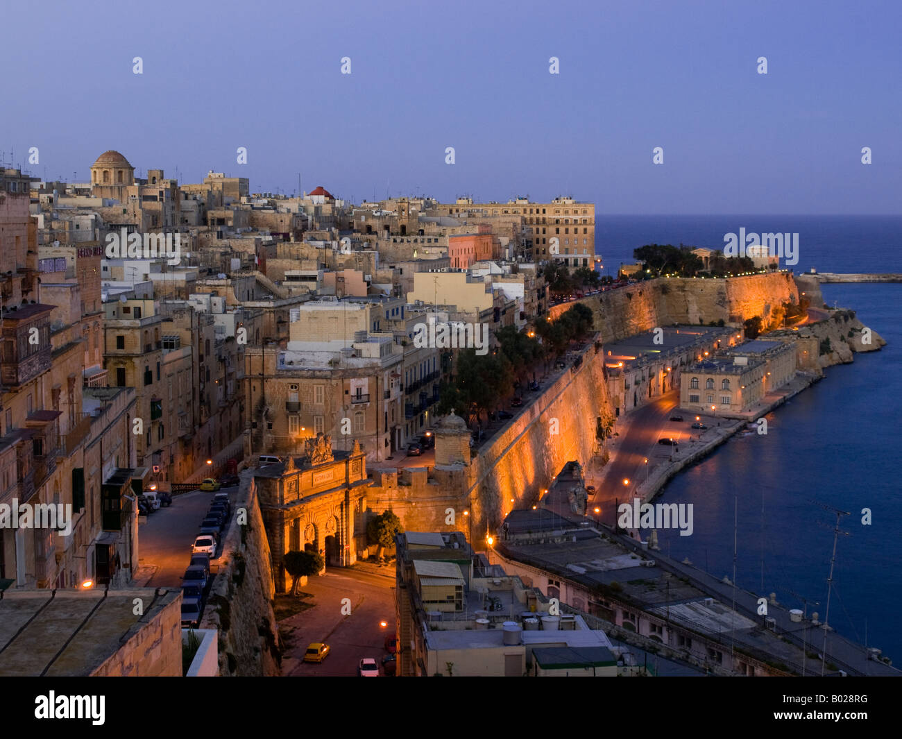 The beautiful skyline of Valletta - Malta's densely-packed capital city - as seen from the Upper Barrakka Gardens. - Stock Image