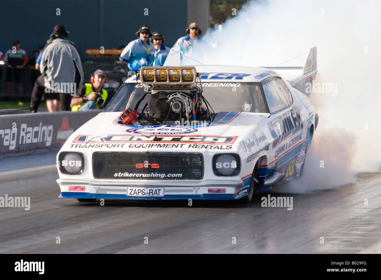 Multiple Australian Top Doorslammer drag racing Champion, John Zappia, in action at the Perth Motorplex in Western Stock Photo