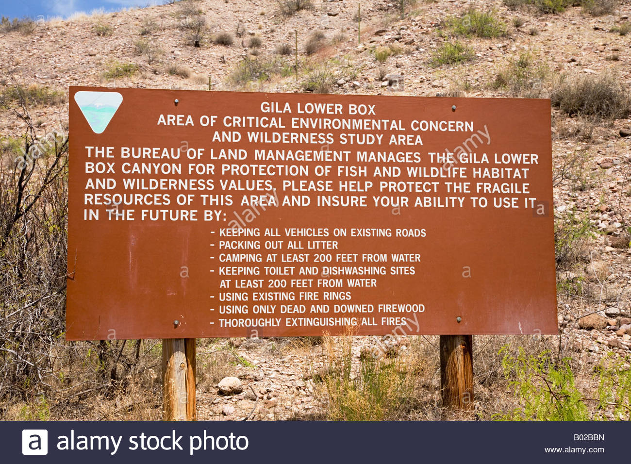 Sign Gila Lower Box information Area of Critical Environmental Concern - Stock Image