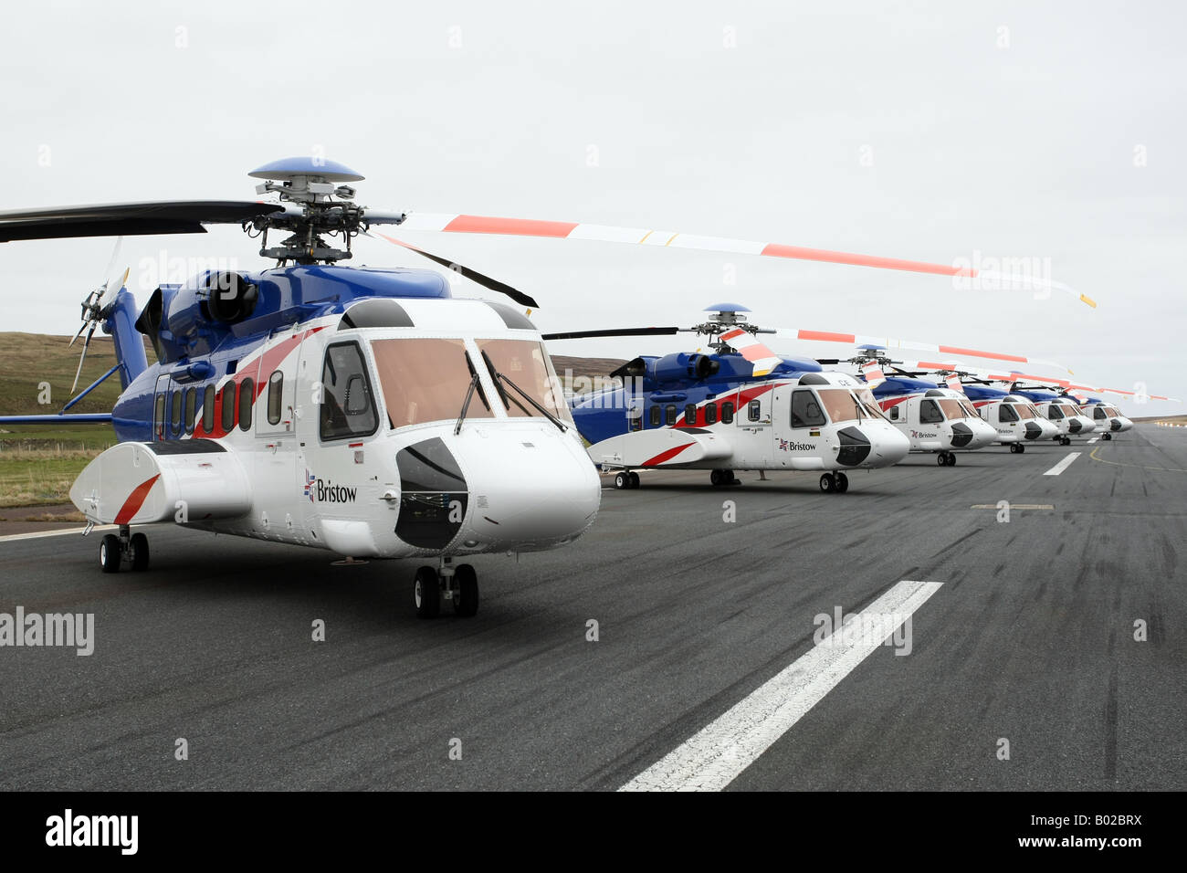 Bristows Sikorsky S-92 Helicopters at Scatsta Airport used to transport offshore oil workers - Stock Image