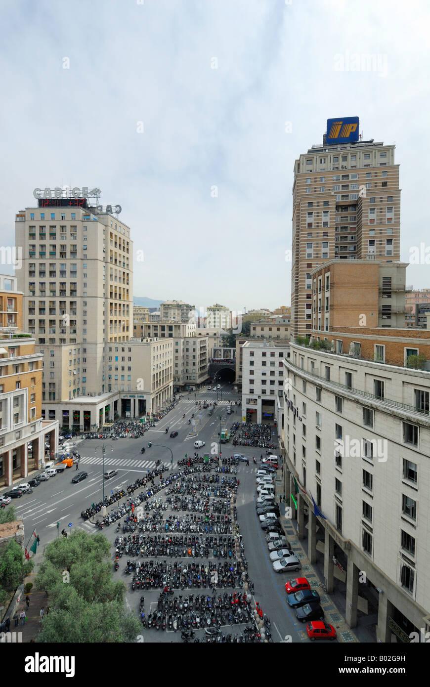 Genoa Italy Piazza Dante the Torre Piacentini Stock Photo: 17267085 ...