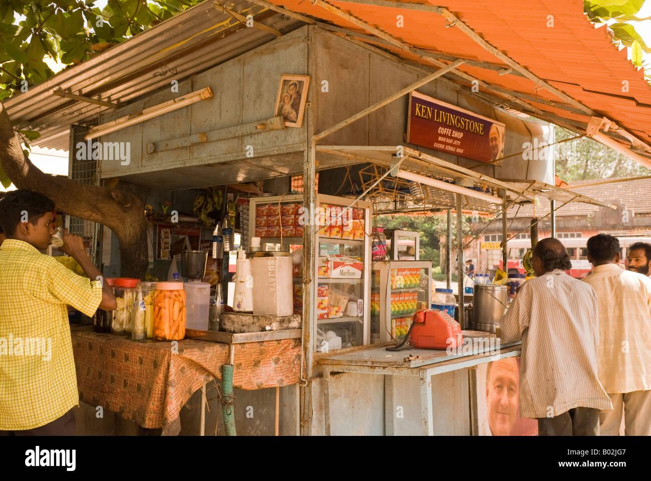 Laiju Palatty's Ken Livingstone Coffe Shop, Main Boat Jetty, Cochin, Kerala, India - Stock Image
