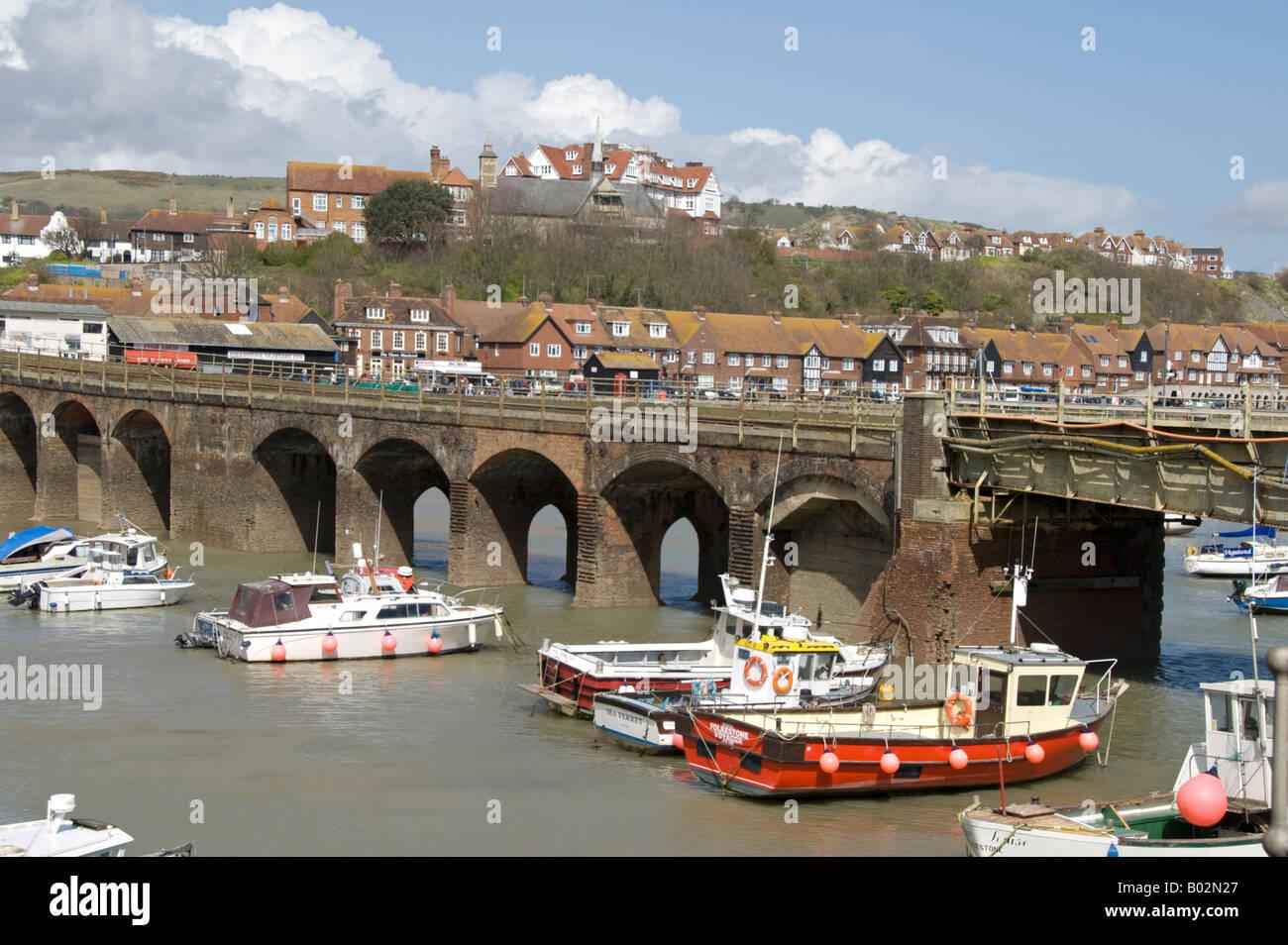 The viaduct on the Folkestone Harbour Branch, Folkestone Kent, England. - Stock Image