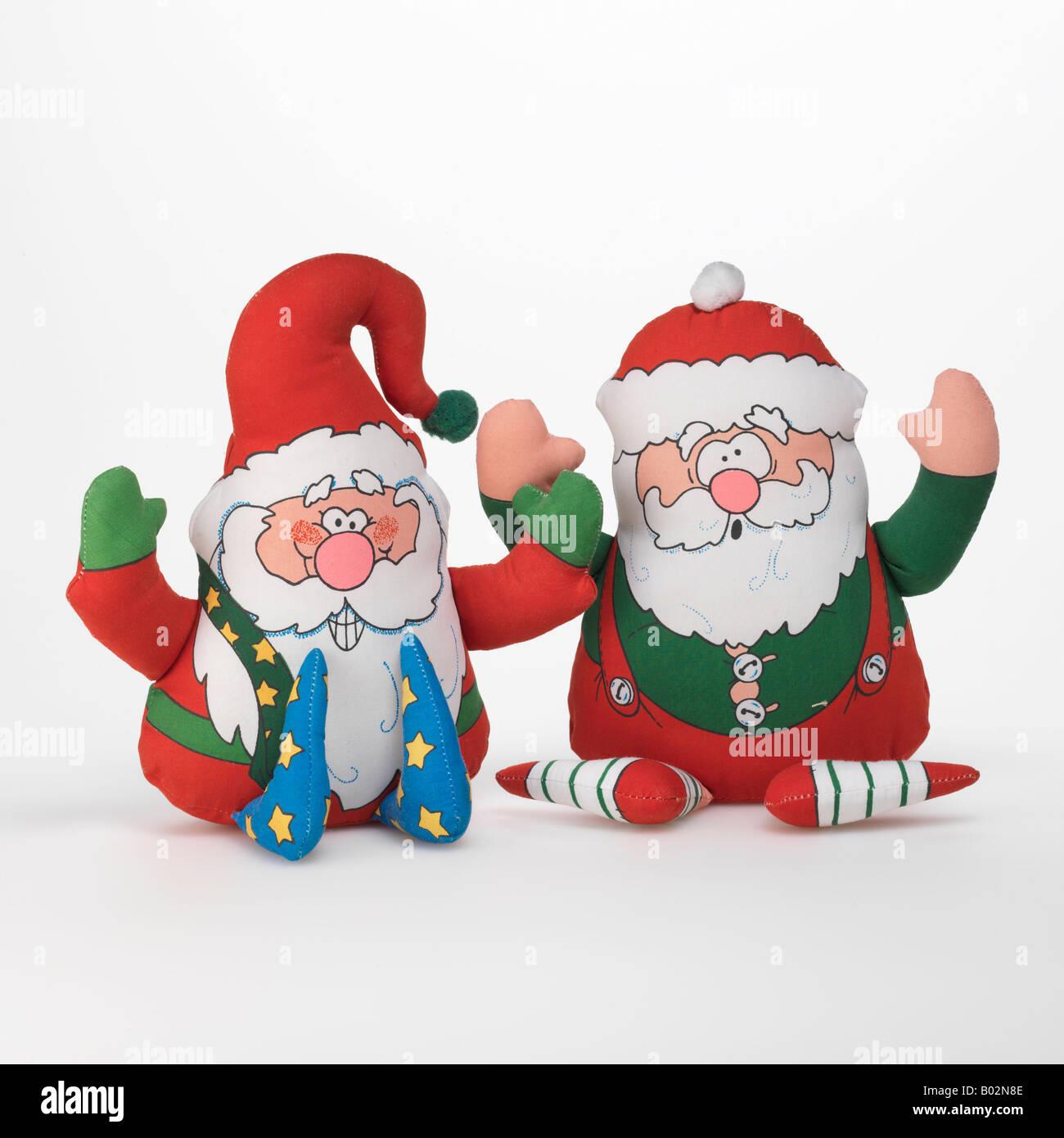 Santa Claus Christmas elf toys on white background Stock Photo