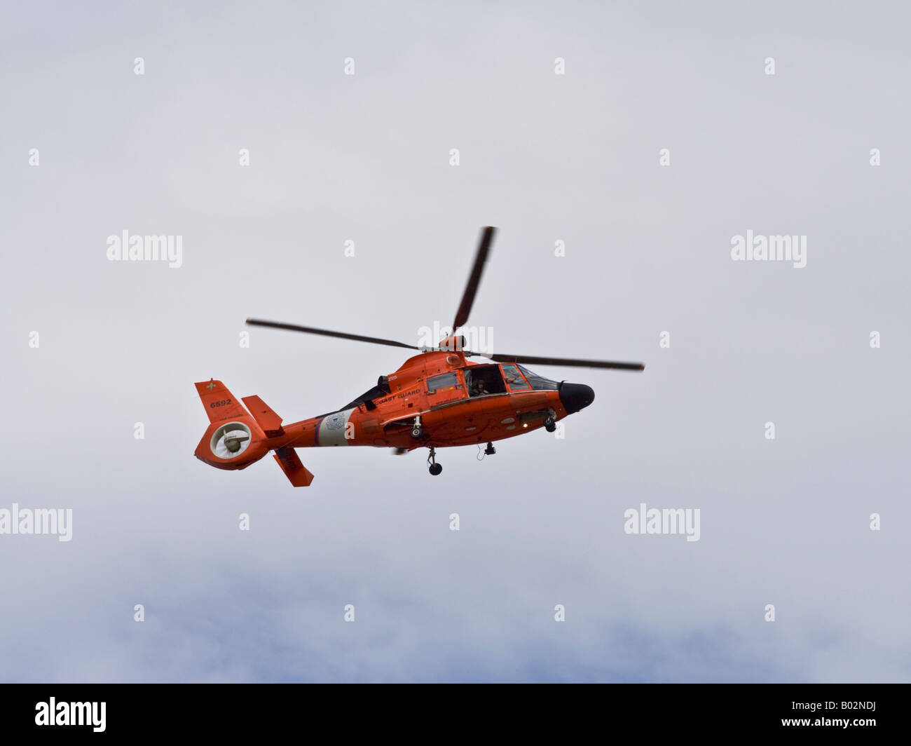 US Coast Guard Helicopter patrol over Mississippi River at