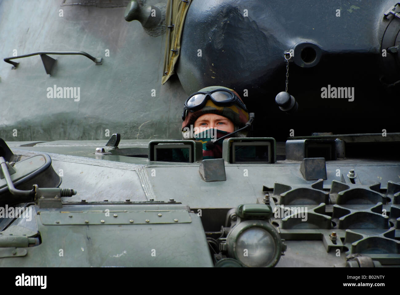Tank driver of a Leopard 1A5 MBT of the Belgian Army. - Stock Image