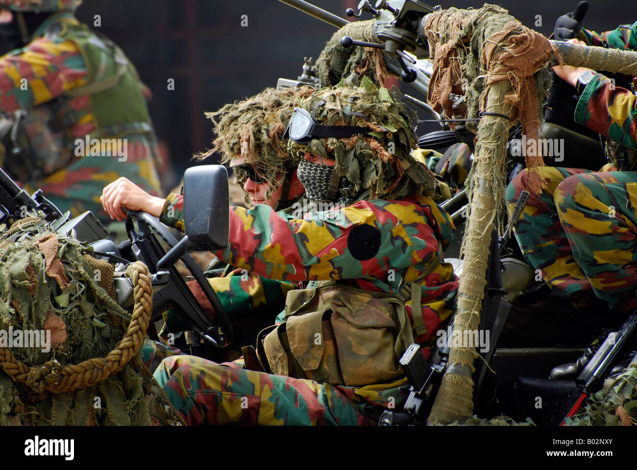 Members of a recce or scout team of the Belgian Army. - Stock Image