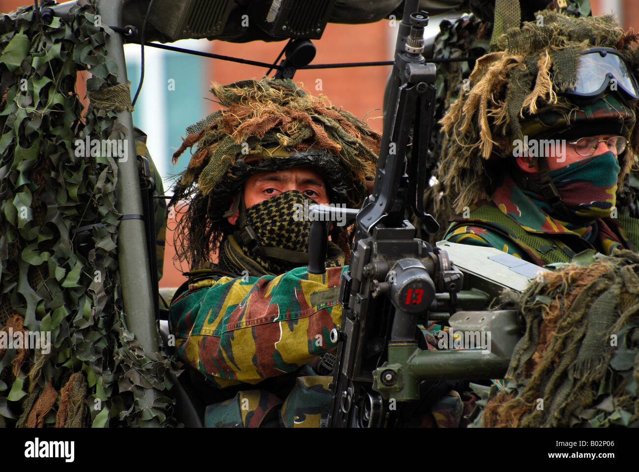 Members of a recce or scout team of the Belgian Army. Stock Photo
