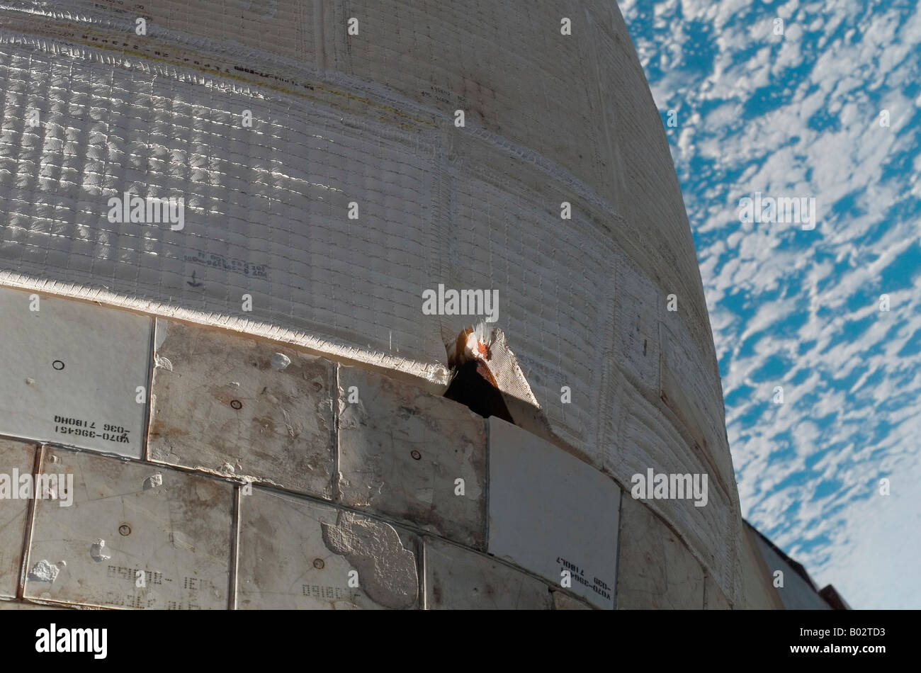 Close-up view of Space Shuttle Atlantis' port side orbital maneuvering system pod. - Stock Image