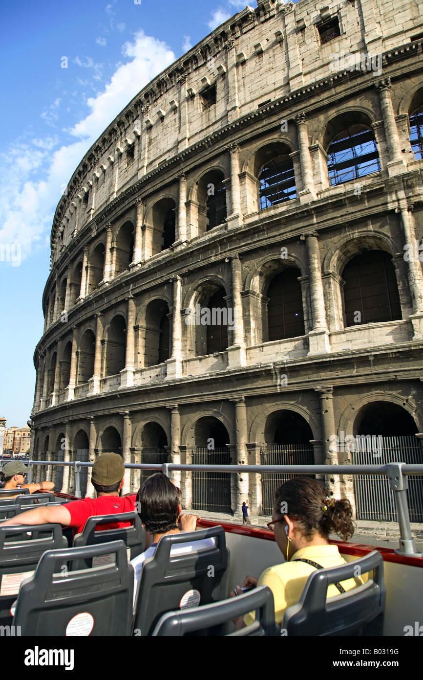 Italy, Lazio, Rome, Colosseum, Touirists In Sightseeing Tour Bus, Stock Photo