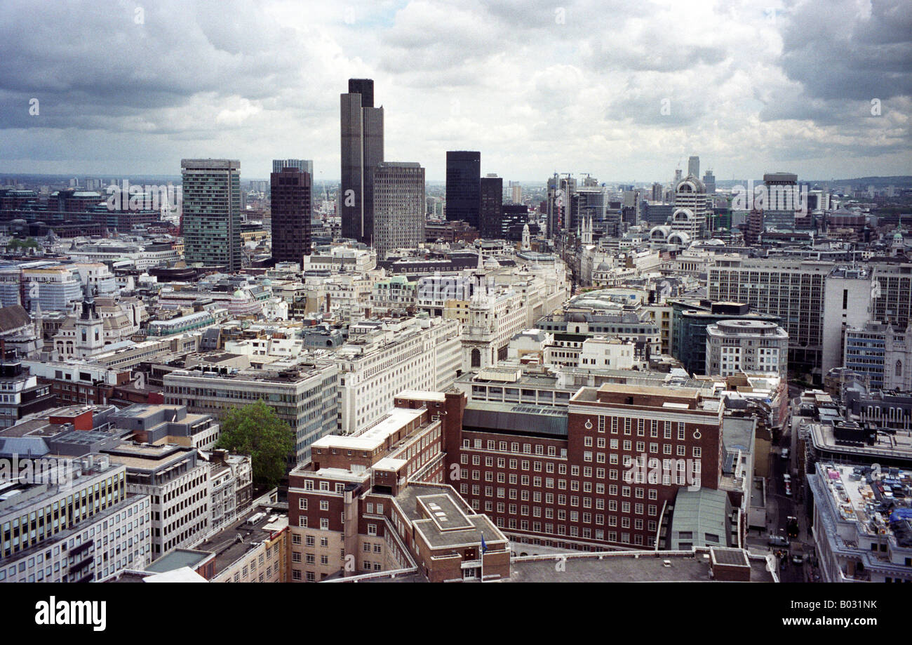Looking from the roof of Saint Paul's Cathedral, east towards Finsbury Circus - Stock Image