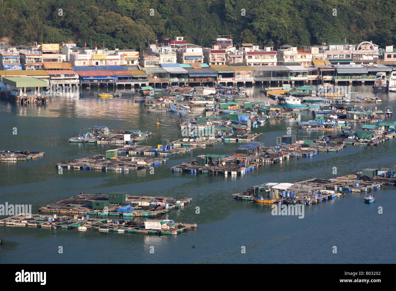 Fish farms and seafood restaurants Sok Kwu Wan Lamma Island Hong Kong China - Stock Image
