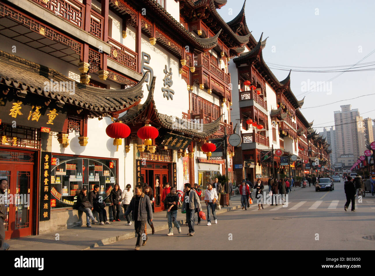 Busy tourist street in the Old town ,Shanghai,China - Stock Image