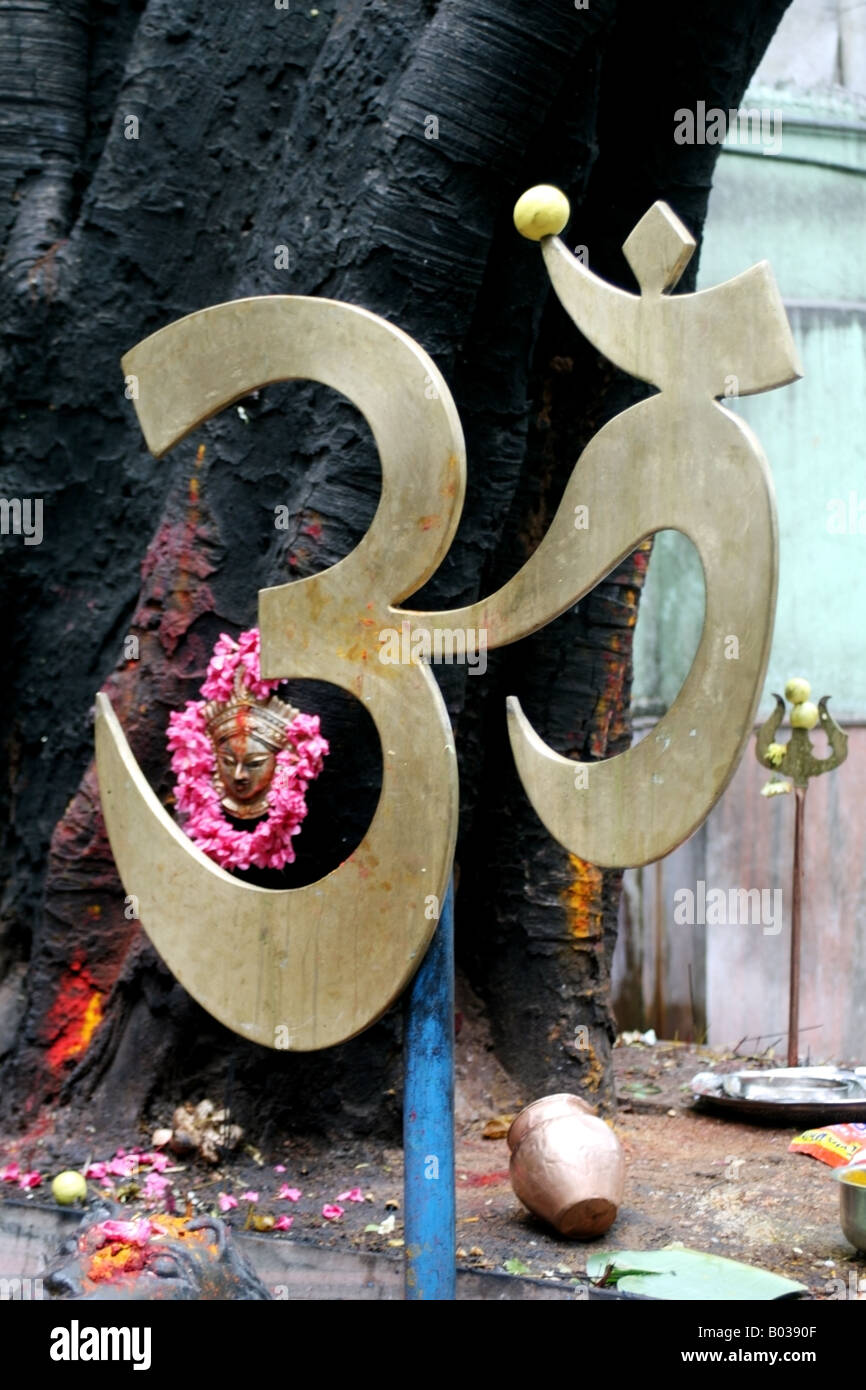 The sacred Hindu sign Om in a temple in India - Stock Image
