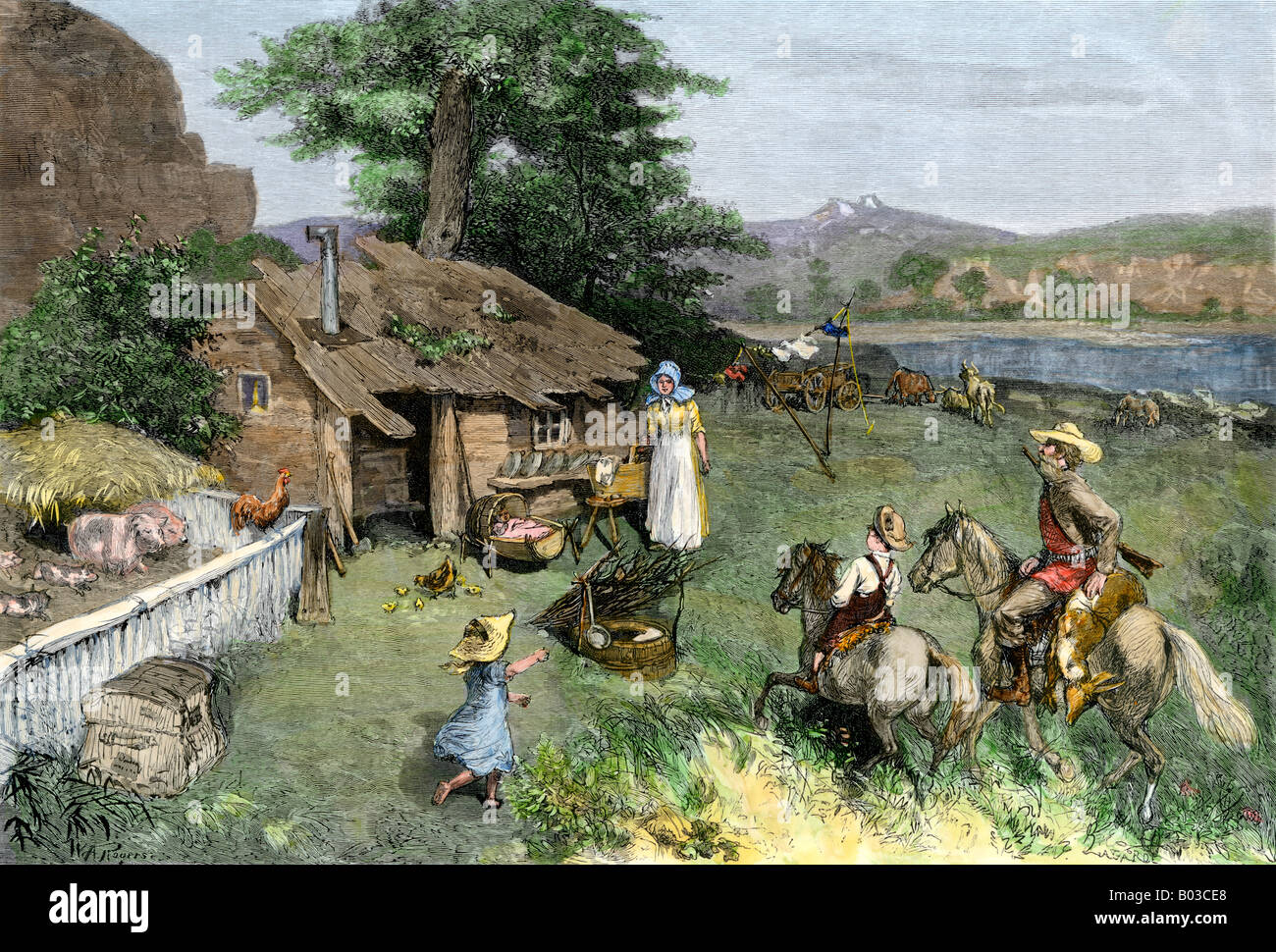 Pioneer homestead in the far west. Hand-colored woodcut - Stock Image