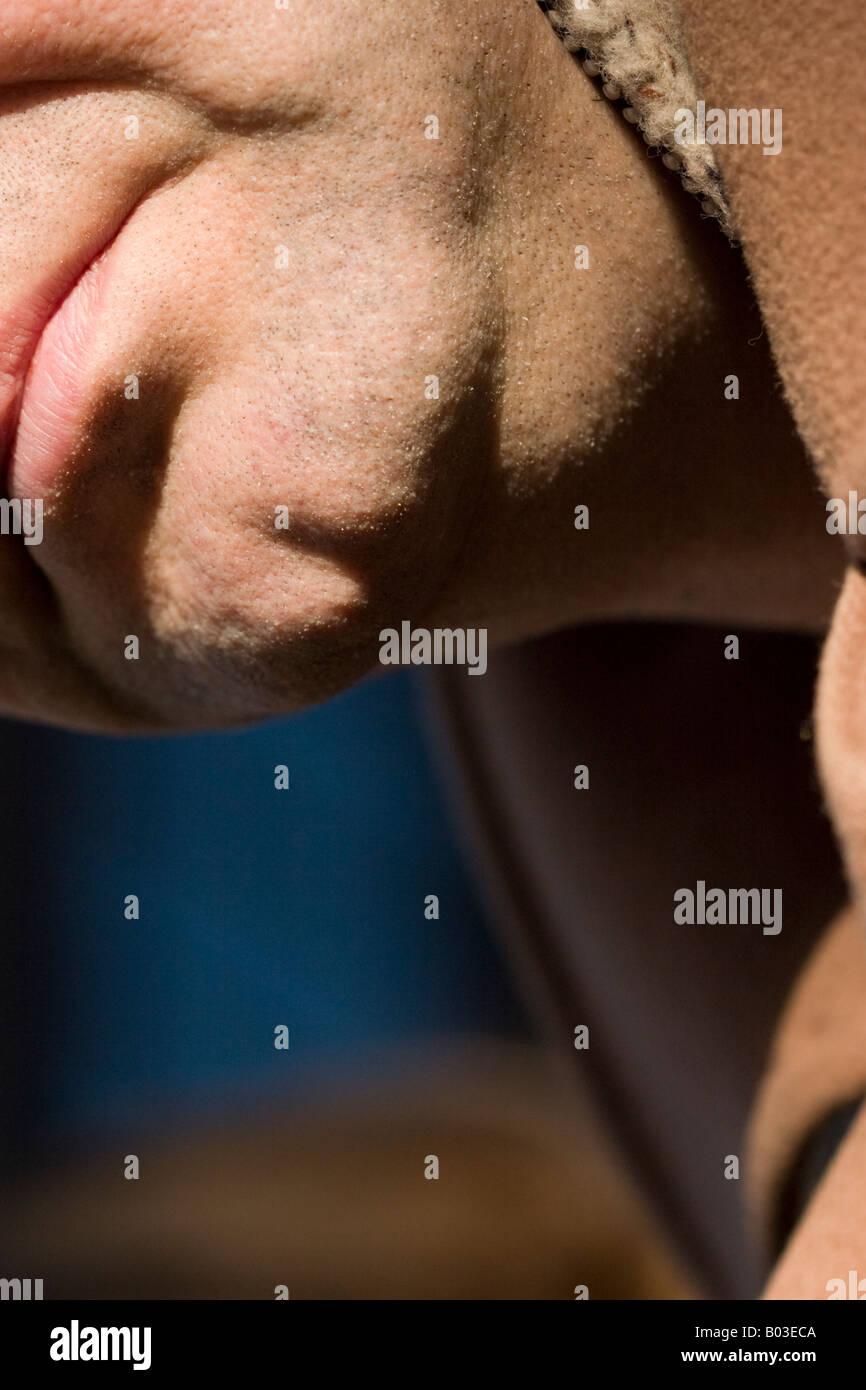 Man Close-up, London - Stock Image