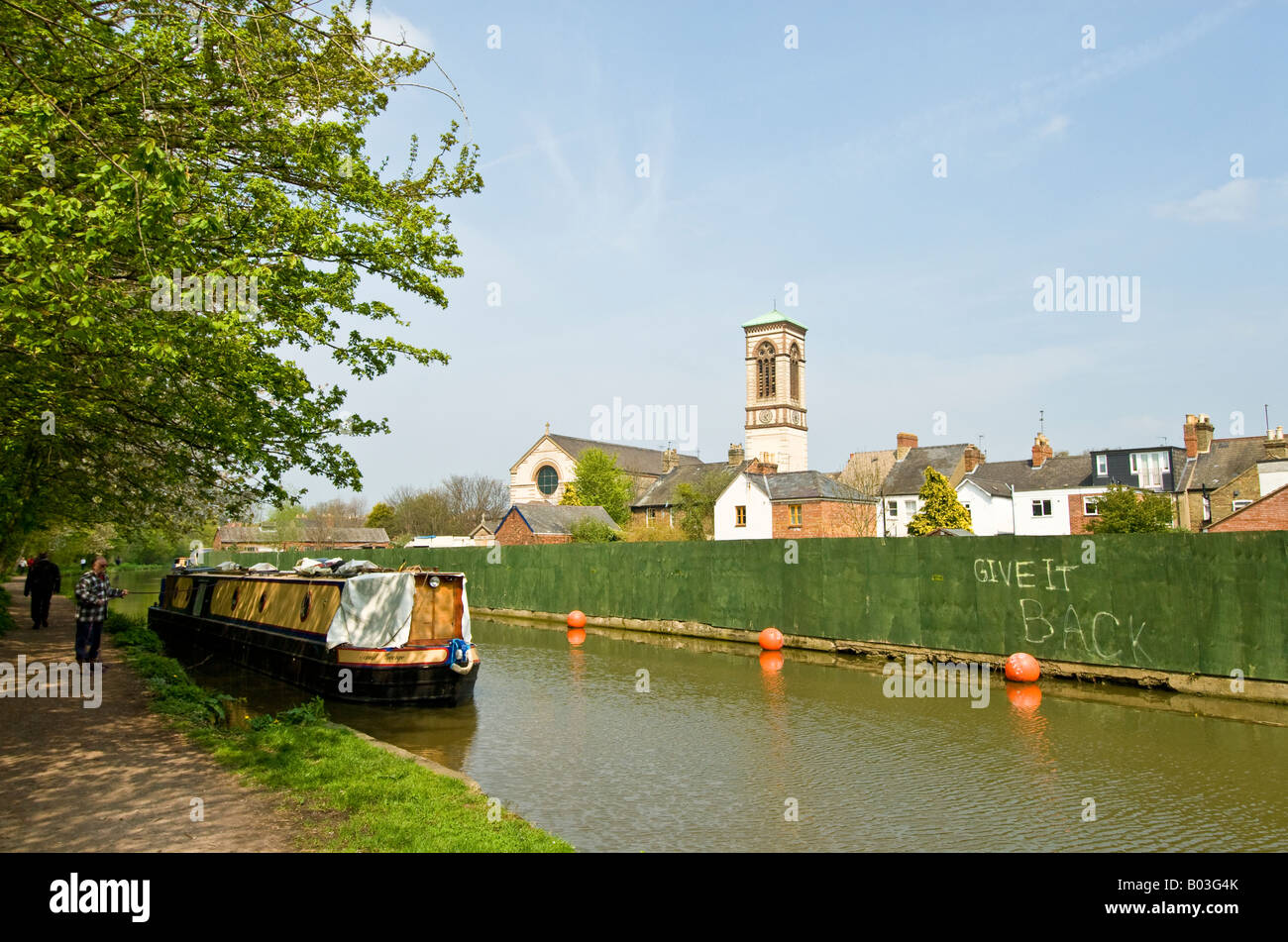 Site of the closed boatyard on the Oxford Canal in Jericho, Oxford, England - Stock Image
